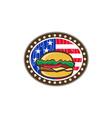 American Cheeseburger USA Flag Oval Cartoon vector image vector image