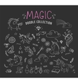 hand drawn magic unicorn and fairy doodles vector image