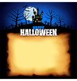 Castle behind sheet of paper Halloween background vector image