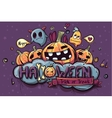 Colored hand drawn Halloween doodles vector image