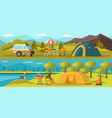 colorful camping horizontal banners vector image