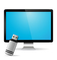 computer display with flash drive vector image