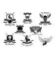 icons set for ice hockey club vector image