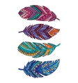 set of colored ornate decorative feathers vector image