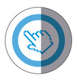 sticker blue circular frame with pixelated hand vector image