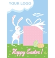 Cute easter bunny with egg Rabbit animal vector image