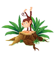 A stump with a playful monkey vector image vector image