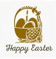 easter banner design basket with easter eggs vector image