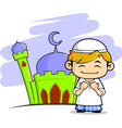 moslem boy with mosque background vector image vector image