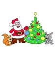 Santa decorating Christmas tree 3 vector image