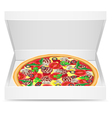 pizza is in a cardboard box vector image vector image