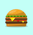 hamburger flat design food icon vector image