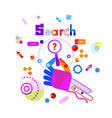 hand holding magnifying glass with question search vector image
