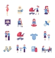 Motherhood Flat Icons Set vector image