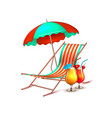 summer vacation cocktail umbrella lounger vector image