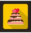 Wedding cake with two hearts icon flat style vector image