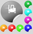 Forklift icon sign Set of eight multi colored vector image