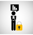 sulhouette businessman graphs security vector image