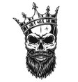 black and white skull in crown vector image