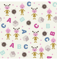 Girl boy and ABC seamless background vector image vector image
