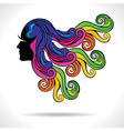 abstract colorful hair fashion girl vector image