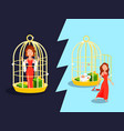 marriage golden cage concept vector image
