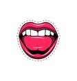 Pink lips tongue pop art retro poster element vector image
