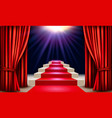 showroom with red carpet leading to a podium with vector image