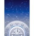Zodiac wheel night sky vector image