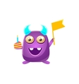 Purple Toy Monster With Horns Holding Flag And vector image