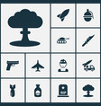 warfare icons set collection of weapons ordnance vector image