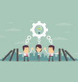 concept of teamwork building working system of vector image