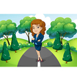 A businesswoman standing in the middle of the vector image vector image