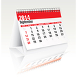 september 2014 desk calendar vector image