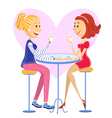 Two lovers women drinking coffee vector image vector image