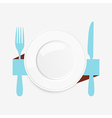 Empty white plate with a blue knife and fork vector image