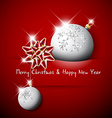 Simple red christmas card with bow and bauble vector image vector image