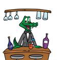 Bartender crocodile vector image