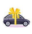 car as a gift with a bow vector image