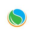 circle water leaf logo image vector image