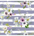 Vintage Lily and Anemone Flowers Background vector image vector image