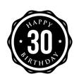 Thirty years happy birthday badge ribbon vector image