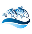 fish on the waves vector image vector image