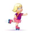 Little girl rides on roller skatesTeen rides on vector image