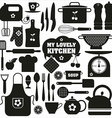 Kitchen icons set of tools vector image