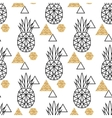 Line geometric pineapple and gold shimmer dot vector image vector image