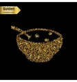 Gold glitter icon of soup isolated on vector image