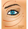 background with part of the face and massage line vector image