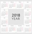 calendar 2018 english version vector image