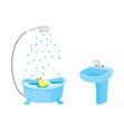 flat washbasin with faucet bathtub set vector image
